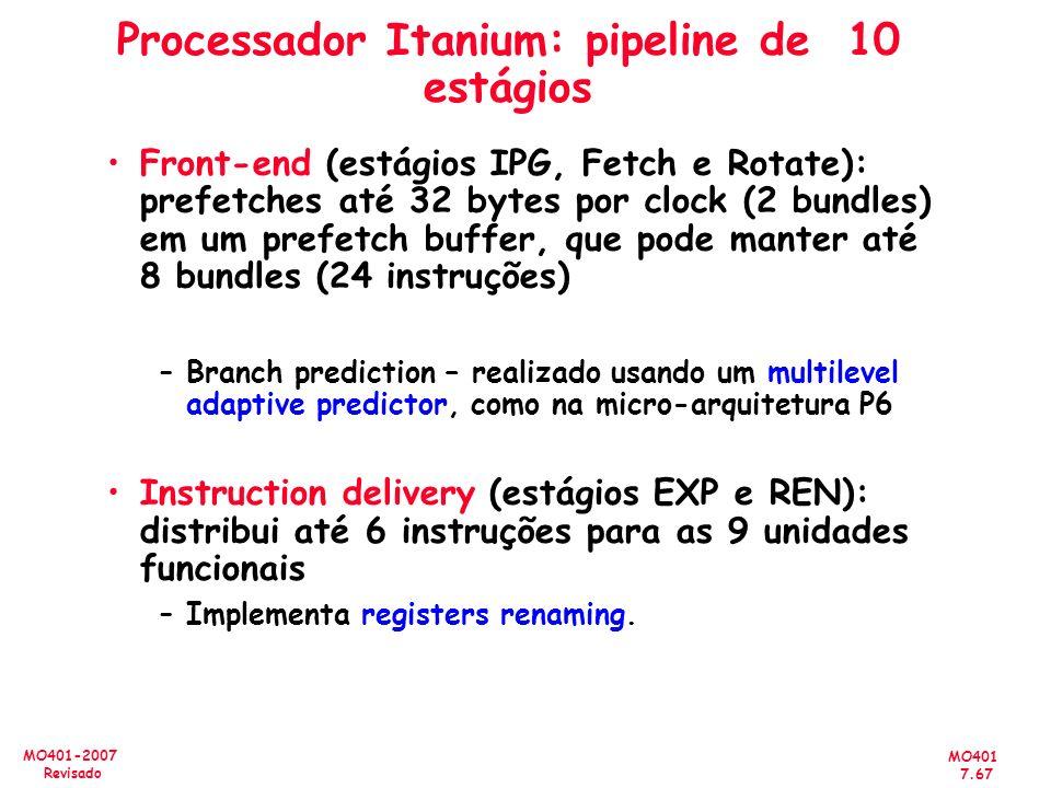 Processador Itanium: pipeline de 10 estágios