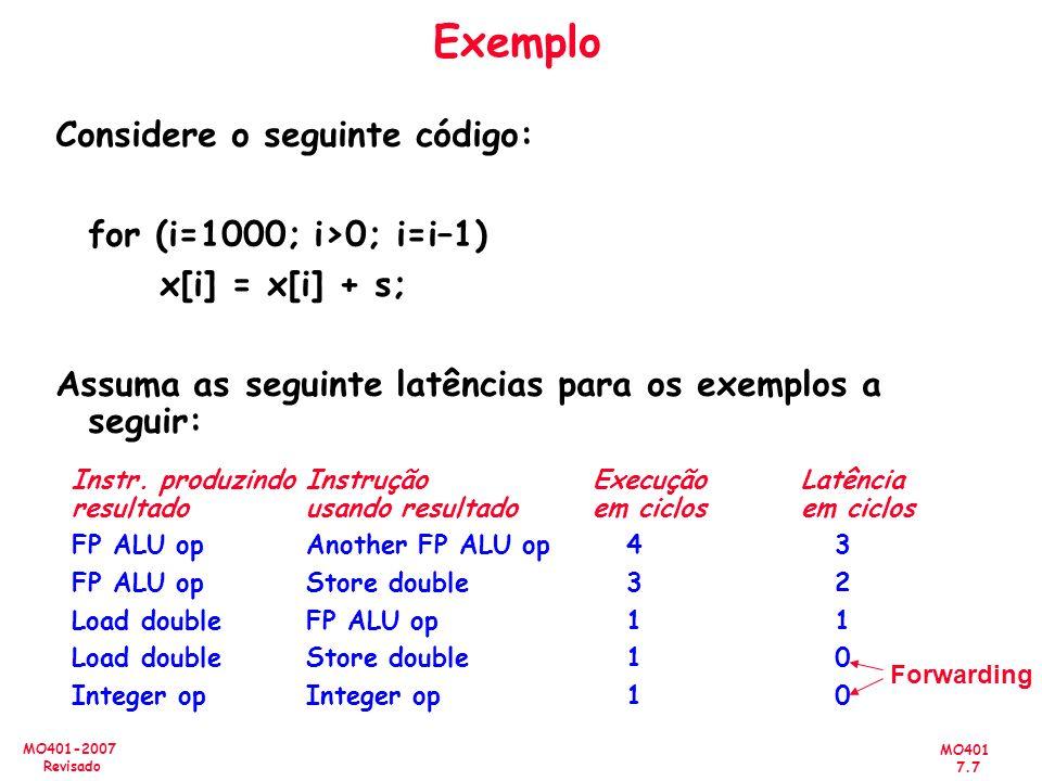 Exemplo Considere o seguinte código: for (i=1000; i>0; i=i–1)