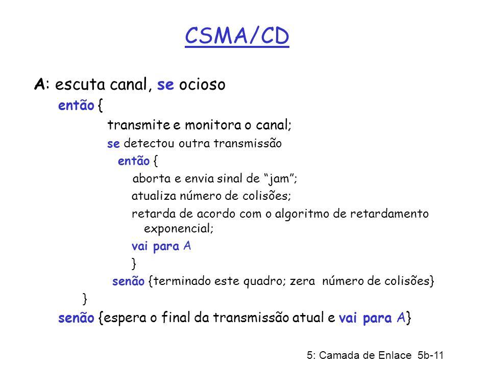 CSMA/CD A: escuta canal, se ocioso então {