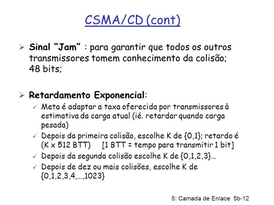 CSMA/CD (cont) Sinal Jam : para garantir que todos os outros transmissores tomem conhecimento da colisão; 48 bits;