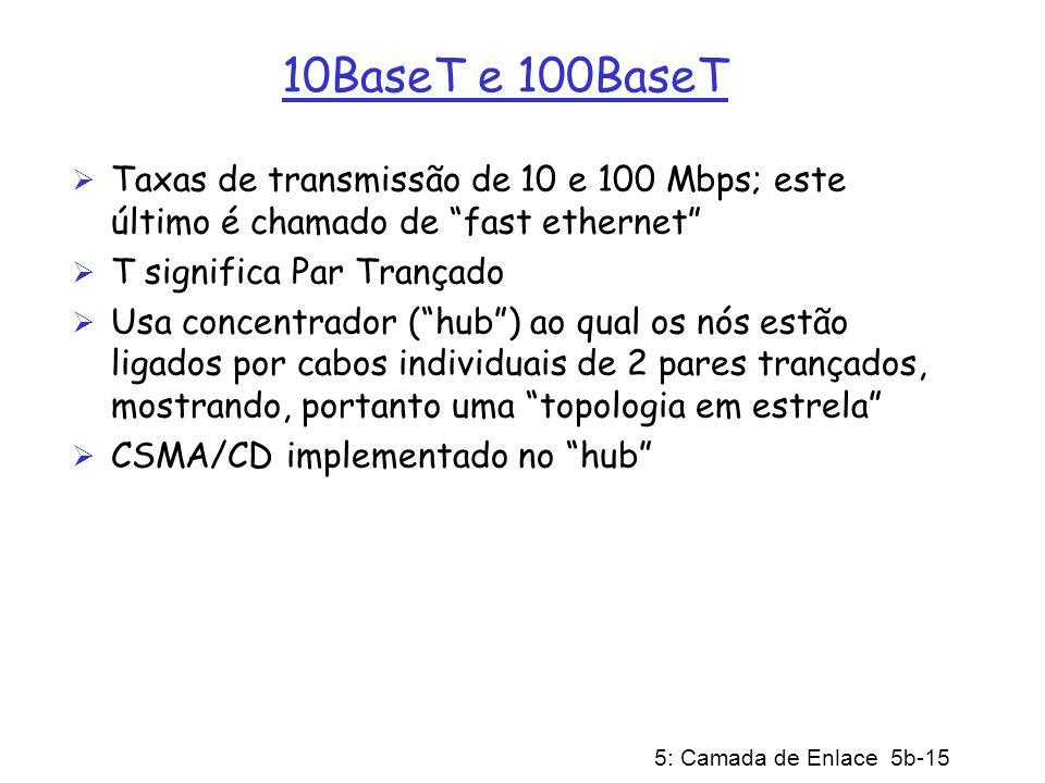 10BaseT e 100BaseT Taxas de transmissão de 10 e 100 Mbps; este último é chamado de fast ethernet T significa Par Trançado.