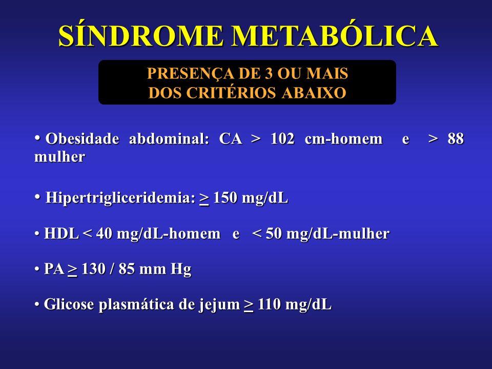 SÍNDROME METABÓLICA PRESENÇA DE 3 OU MAIS. DOS CRITÉRIOS ABAIXO. Obesidade abdominal: CA > 102 cm-homem e > 88 mulher.