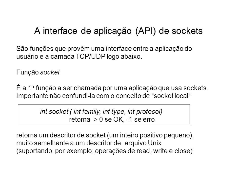 A interface de aplicação (API) de sockets