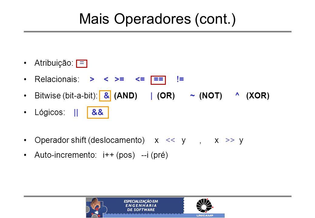 Mais Operadores (cont.)