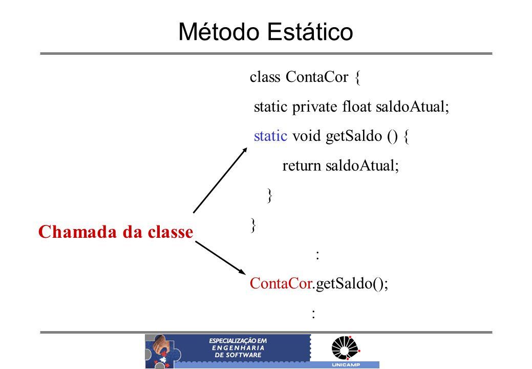 Método Estático Chamada da classe class ContaCor {