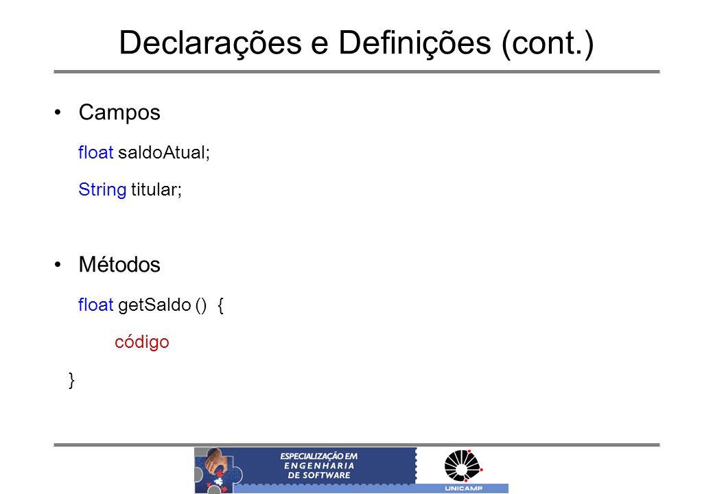 Declarações e Definições (cont.)