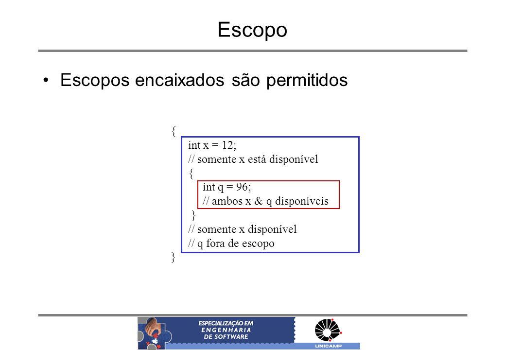 Escopo Escopos encaixados são permitidos { int x = 12;