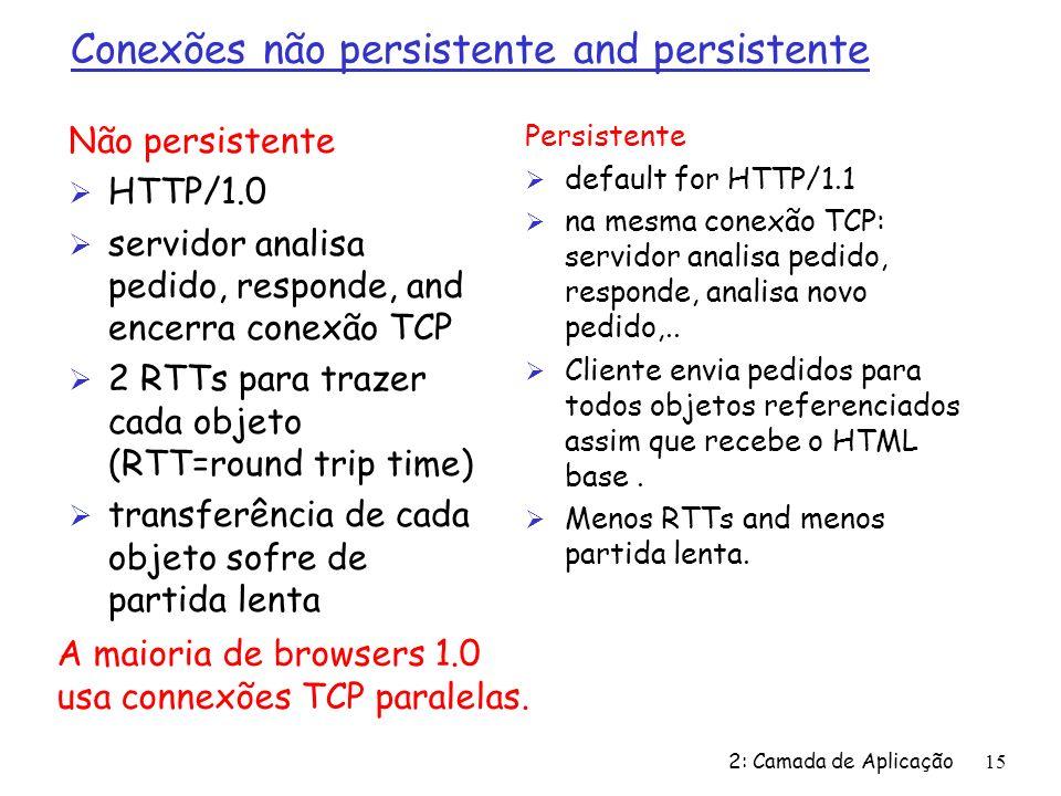 Conexões não persistente and persistente