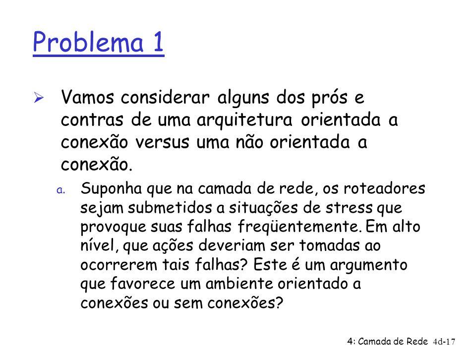 Problema 1 Vamos considerar alguns dos prós e contras de uma arquitetura orientada a conexão versus uma não orientada a conexão.