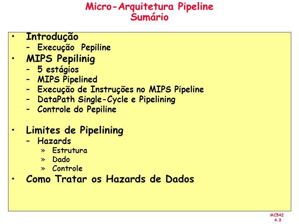 Micro-Arquitetura Pipeline Sumário