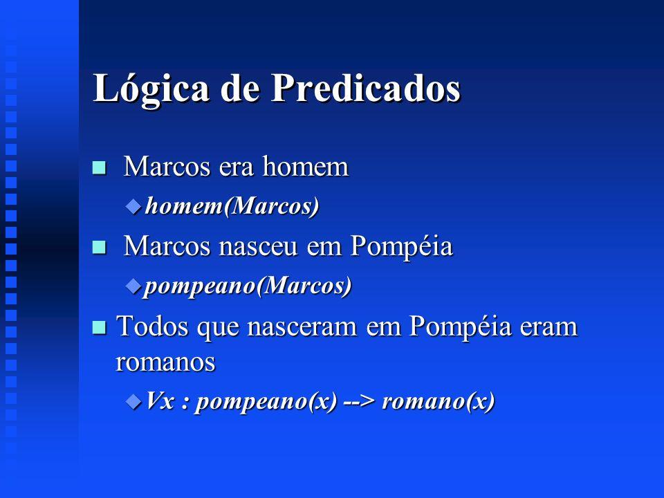 Lógica de Predicados Marcos era homem Marcos nasceu em Pompéia