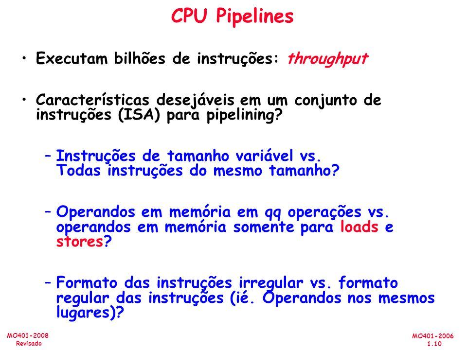 CPU Pipelines Executam bilhões de instruções: throughput