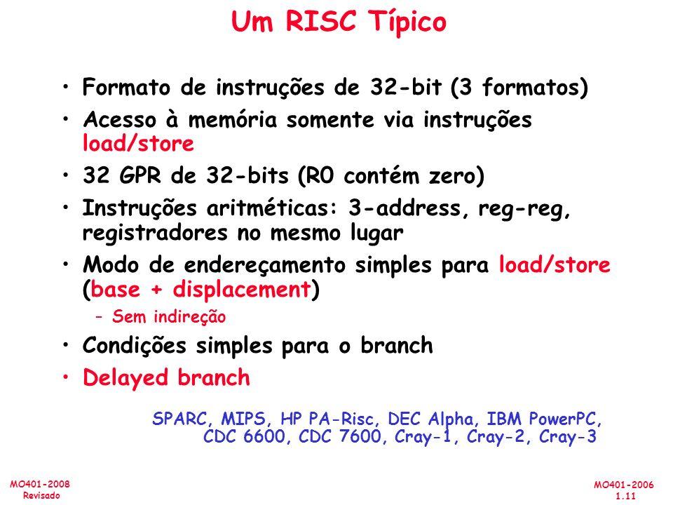 Um RISC Típico Formato de instruções de 32-bit (3 formatos)