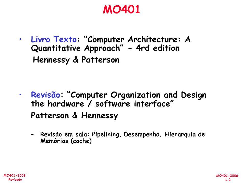 MO401 Livro Texto: Computer Architecture: A Quantitative Approach - 4rd edition. Hennessy & Patterson.