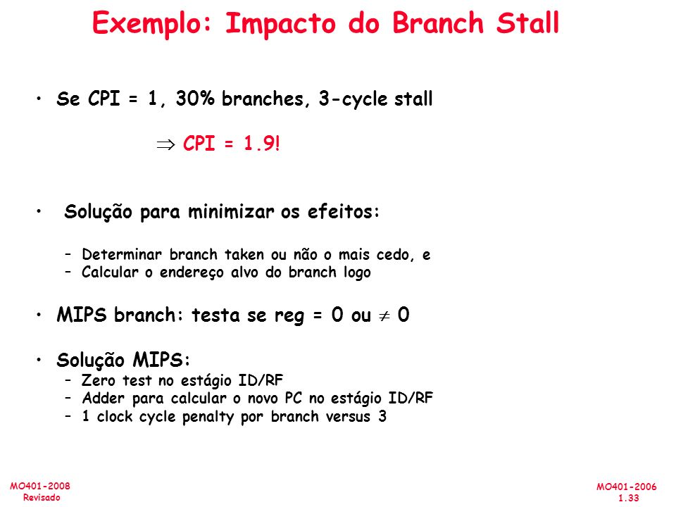 Exemplo: Impacto do Branch Stall