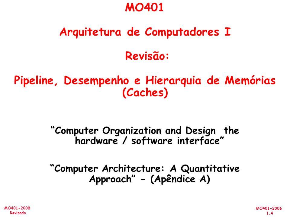 MO401 Arquitetura de Computadores I Revisão: Pipeline, Desempenho e Hierarquia de Memórias (Caches)