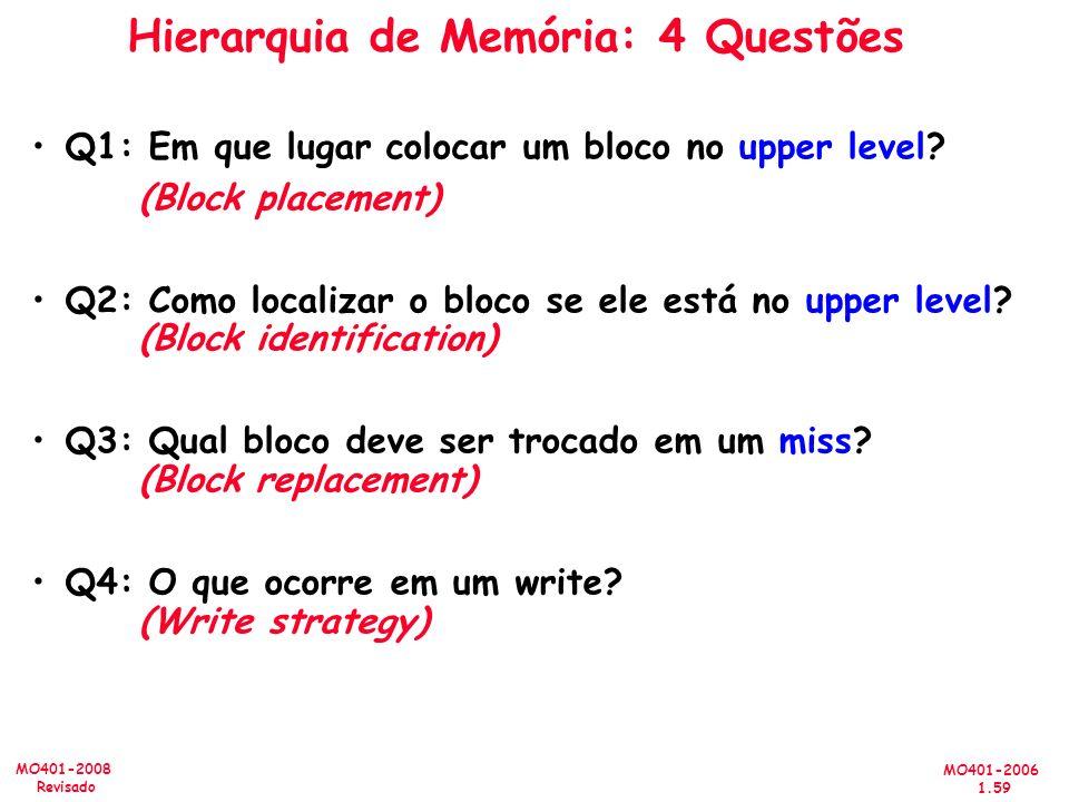Hierarquia de Memória: 4 Questões