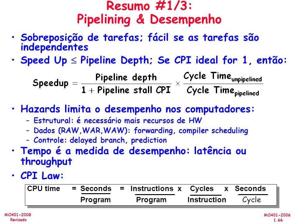Resumo #1/3: Pipelining & Desempenho