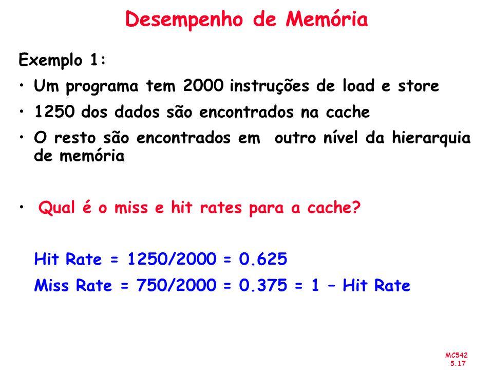 Desempenho de Memória Exemplo 1: