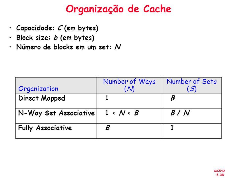Organização de Cache Capacidade: C (em bytes) Block size: b (em bytes)