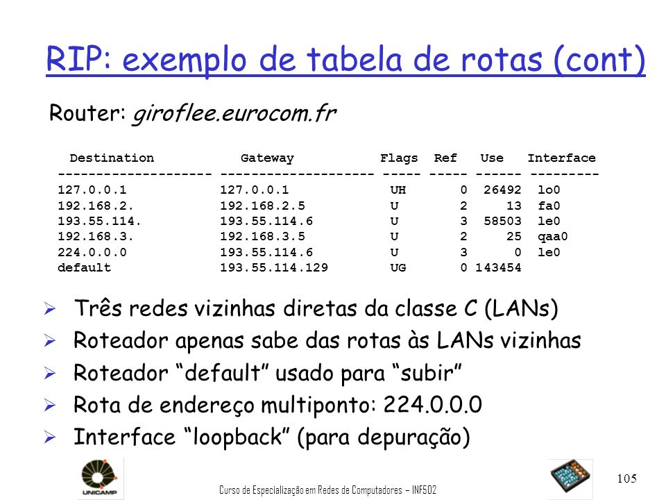RIP: exemplo de tabela de rotas (cont)