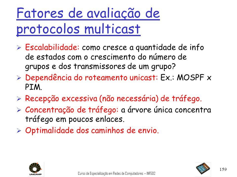 Fatores de avaliação de protocolos multicast