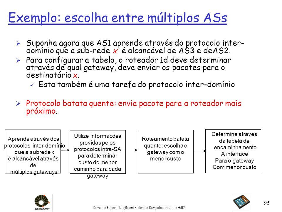 Exemplo: escolha entre múltiplos ASs