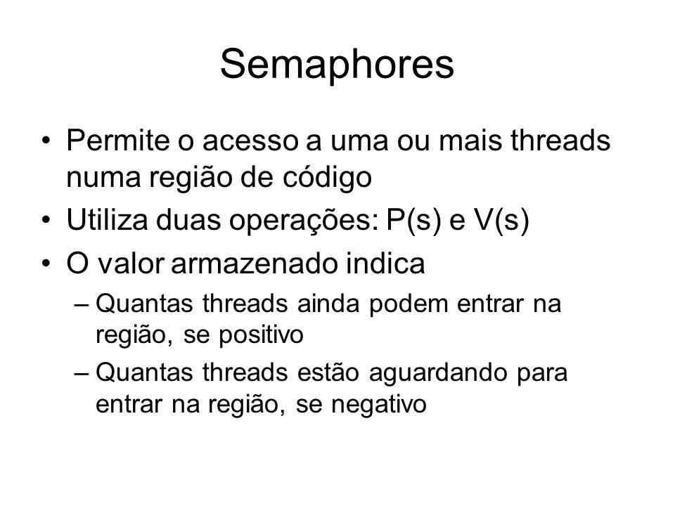 Semaphores Permite o acesso a uma ou mais threads numa região de código. Utiliza duas operações: P(s) e V(s)