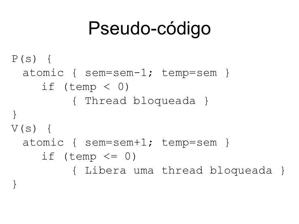 Pseudo-código P(s) { atomic { sem=sem-1; temp=sem } if (temp < 0)