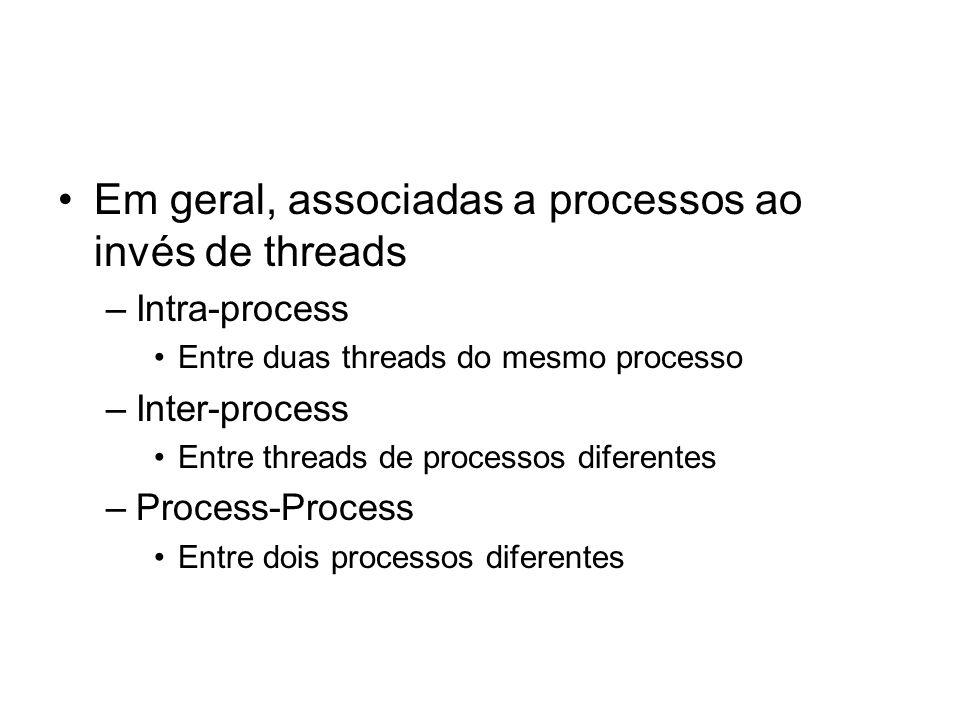 Em geral, associadas a processos ao invés de threads