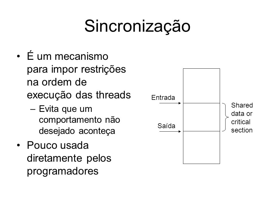 Sincronização É um mecanismo para impor restrições na ordem de execução das threads. Evita que um comportamento não desejado aconteça.
