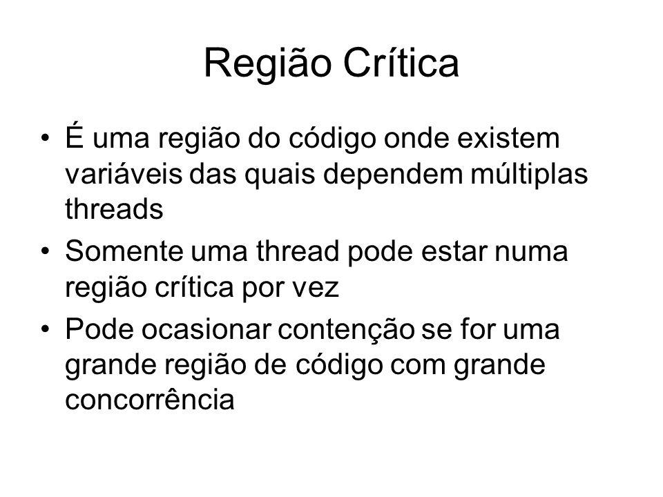 Região Crítica É uma região do código onde existem variáveis das quais dependem múltiplas threads.