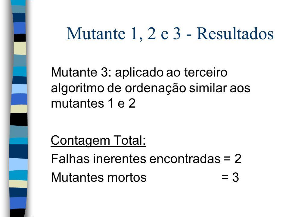 Mutante 1, 2 e 3 - Resultados Mutante 3: aplicado ao terceiro algoritmo de ordenação similar aos mutantes 1 e 2.