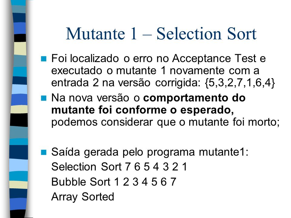 Mutante 1 – Selection Sort