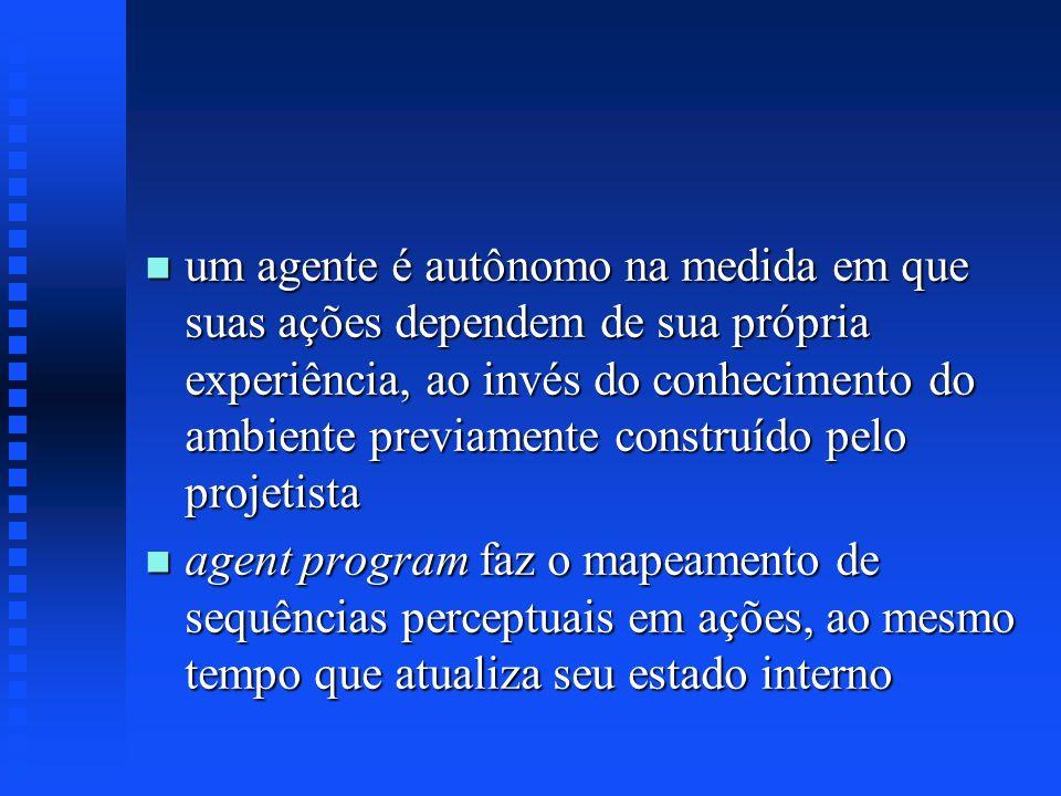 um agente é autônomo na medida em que suas ações dependem de sua própria experiência, ao invés do conhecimento do ambiente previamente construído pelo projetista