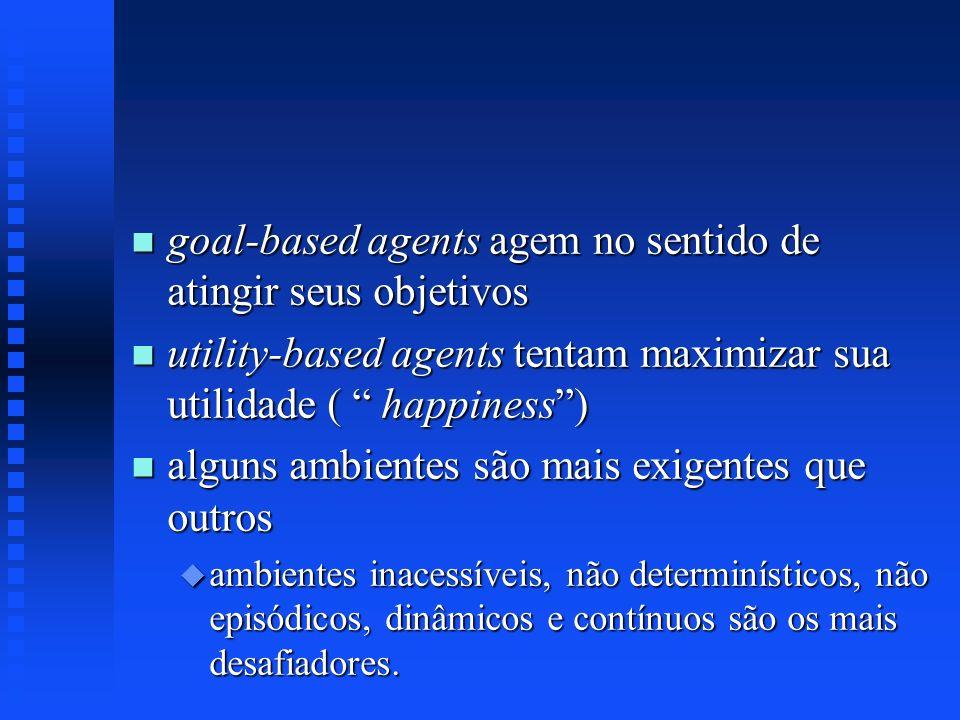goal-based agents agem no sentido de atingir seus objetivos