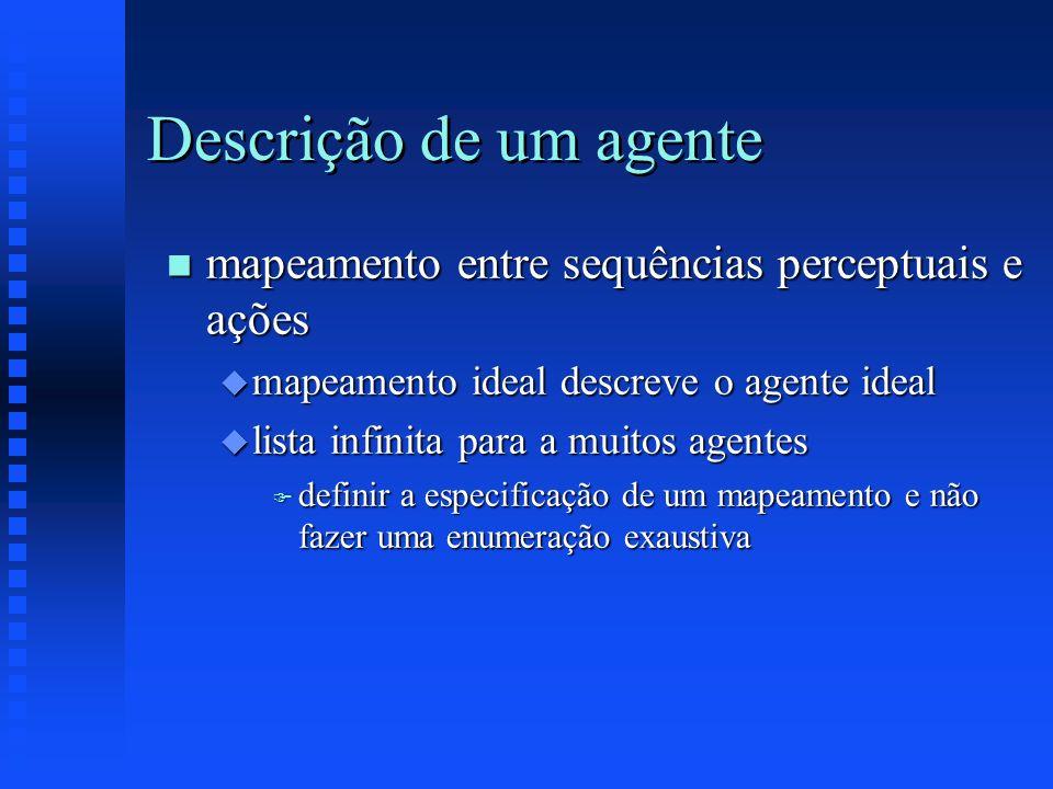 Descrição de um agente mapeamento entre sequências perceptuais e ações
