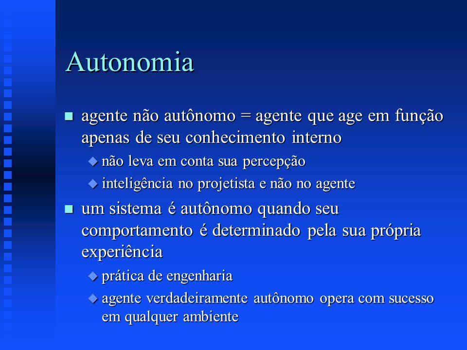 Autonomia agente não autônomo = agente que age em função apenas de seu conhecimento interno. não leva em conta sua percepção.