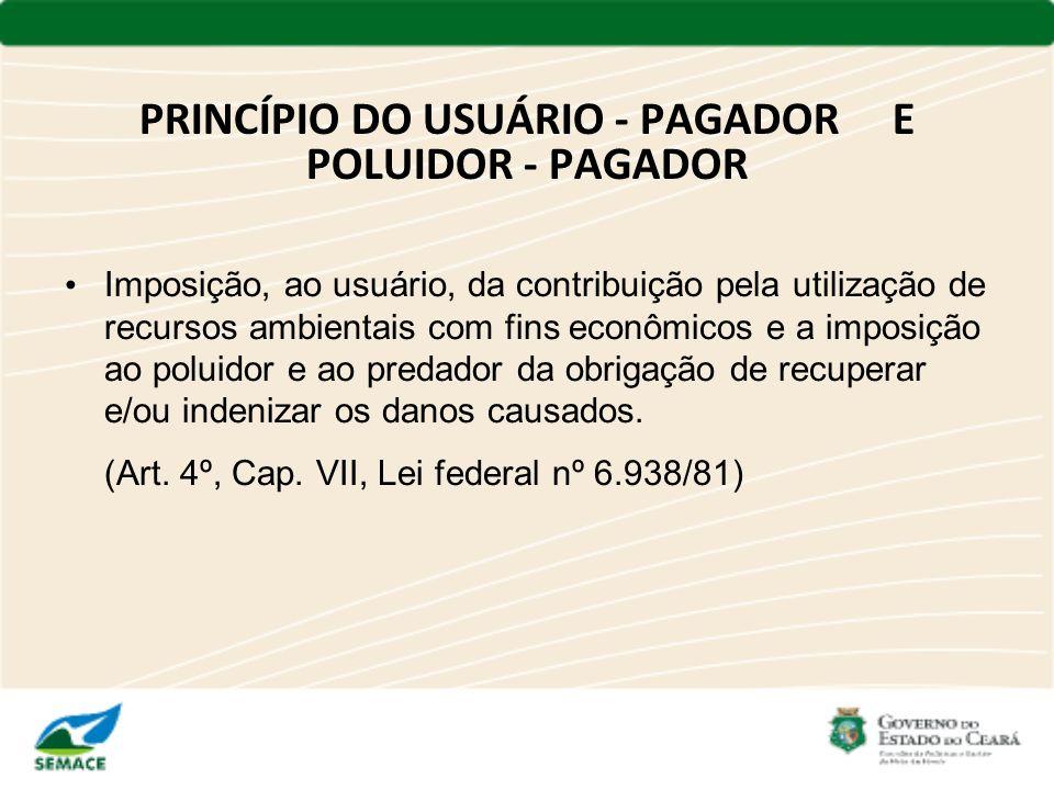 PRINCÍPIO DO USUÁRIO - PAGADOR E POLUIDOR - PAGADOR