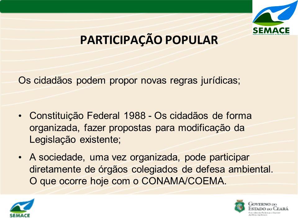 PARTICIPAÇÃO POPULAR Os cidadãos podem propor novas regras jurídicas;