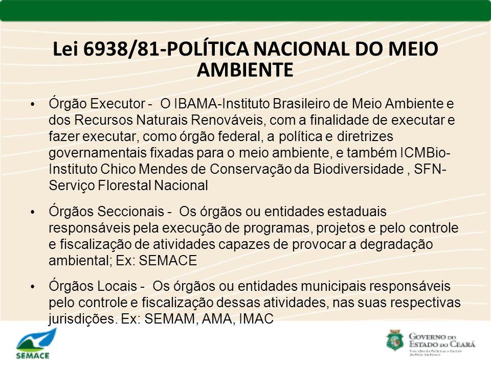 Lei 6938/81-POLÍTICA NACIONAL DO MEIO AMBIENTE