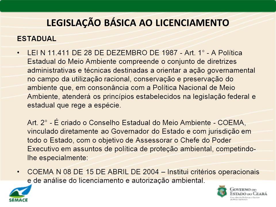 LEGISLAÇÃO BÁSICA AO LICENCIAMENTO