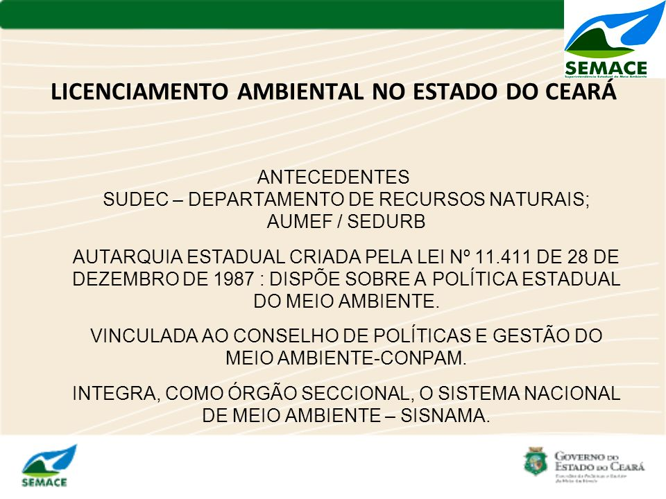 LICENCIAMENTO AMBIENTAL NO ESTADO DO CEARÁ