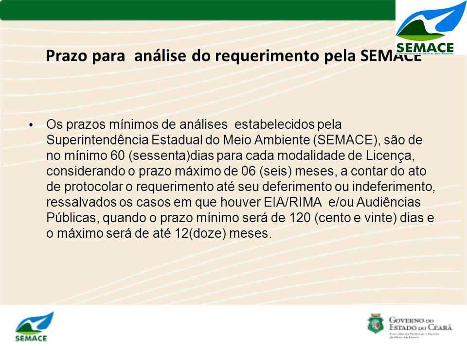 Prazo para análise do requerimento pela SEMACE