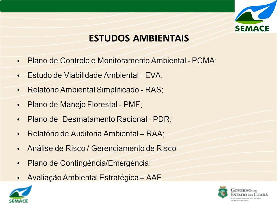 ESTUDOS AMBIENTAIS Plano de Controle e Monitoramento Ambiental - PCMA;