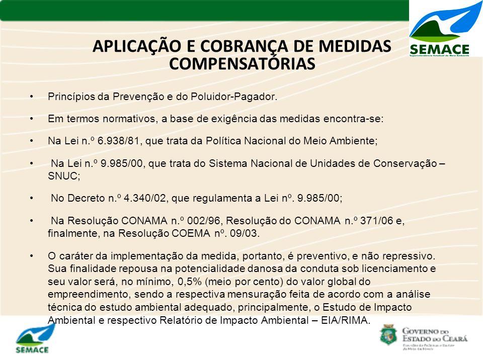 APLICAÇÃO E COBRANÇA DE MEDIDAS COMPENSATÓRIAS