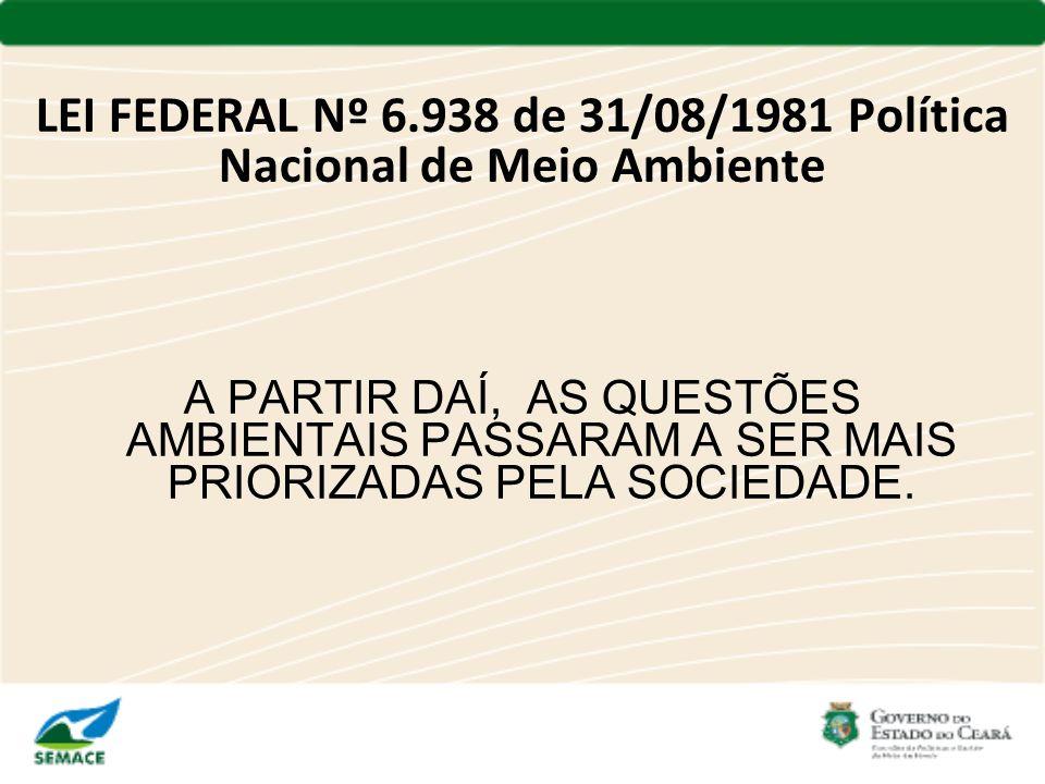 LEI FEDERAL Nº 6.938 de 31/08/1981 Política Nacional de Meio Ambiente