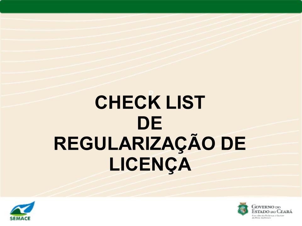 CHECK LIST DE REGULARIZAÇÃO DE LICENÇA