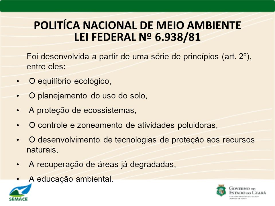 POLITÍCA NACIONAL DE MEIO AMBIENTE LEI FEDERAL Nº 6.938/81