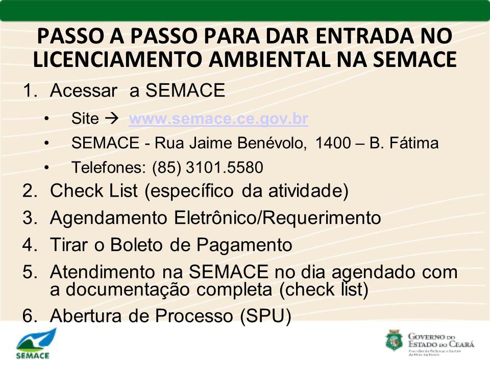 PASSO A PASSO PARA DAR ENTRADA NO LICENCIAMENTO AMBIENTAL NA SEMACE